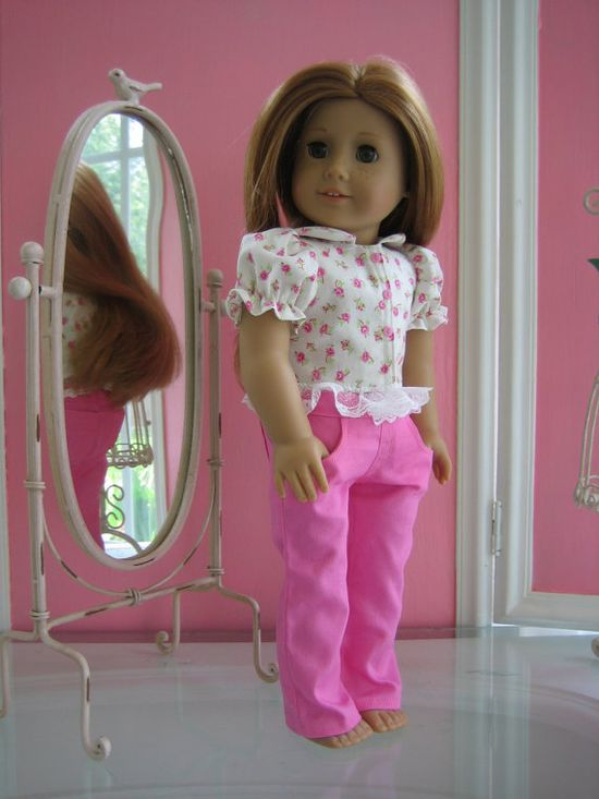 Pants and Girly top made to fit 18 inch American Girl by MenaBella, $17.00