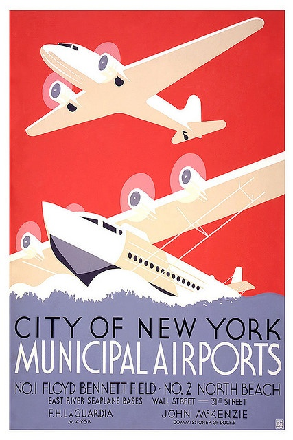 Vintage Travel POSTER New York Municipal Ariports by Kirt Baab, via Flickr