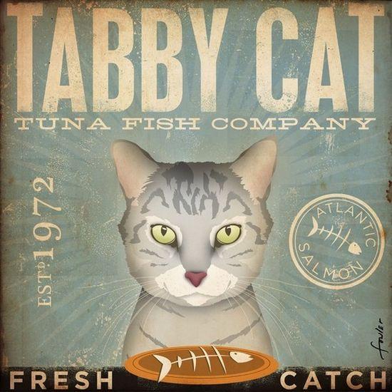Tabby Cat Tuna Company graphic artwork.