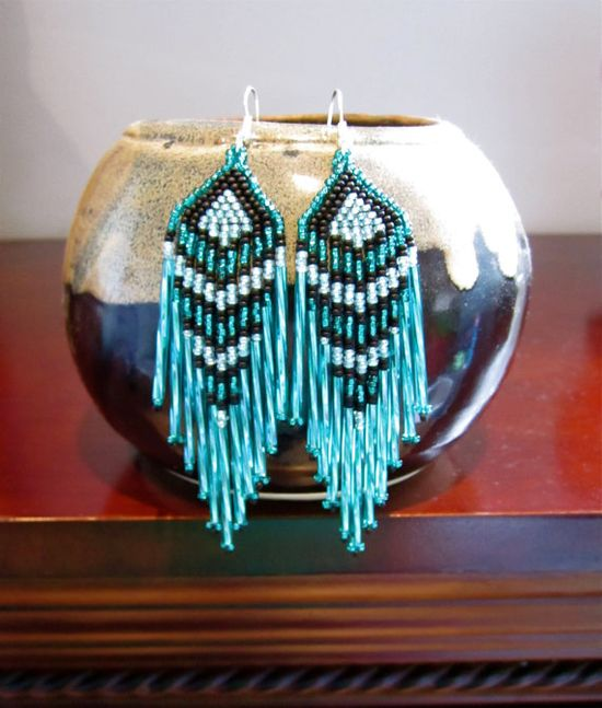 Turquoise and Black Seed Bead Earrings