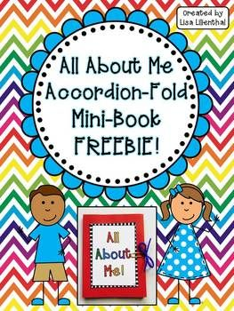 "Back to school FREEBIE! I hope you enjoy this ""All About Me"" mini-book! This is a cute and simple project that would make a great ""first day of school"" activity!"