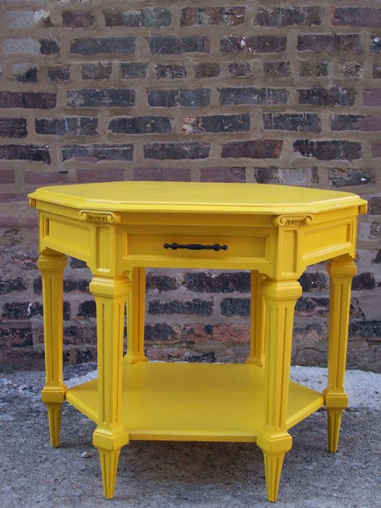 Yellow painted furniture.