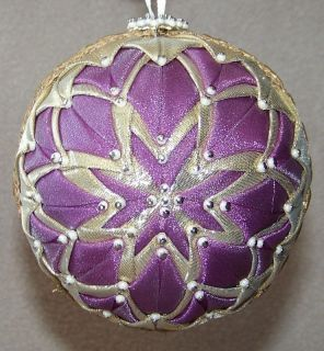 Handmade Quilt Quilted Star Ball Christmas Ornament