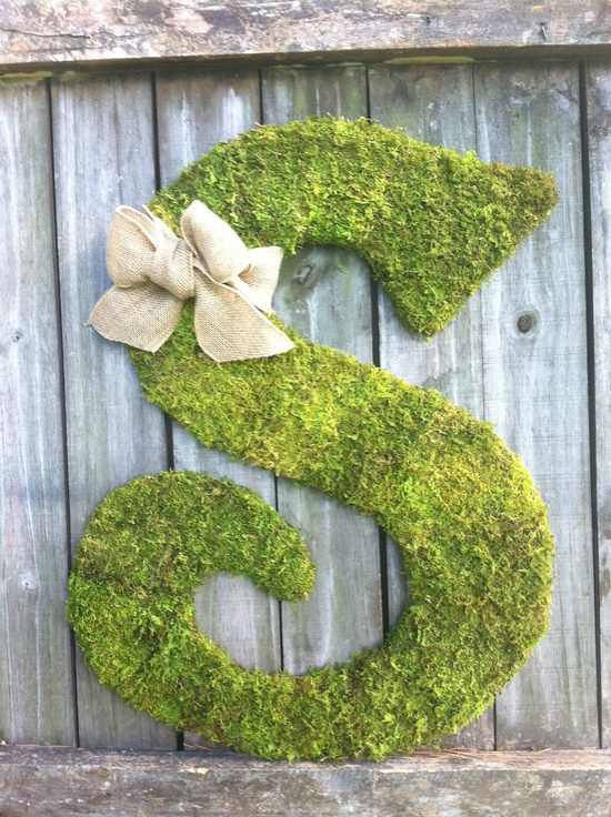 "18"" Wooden Letter S Covered in MOSS - Rustic Wedding - Monogram - Home Decor  - Wedding Decor. $55.00, via Etsy."
