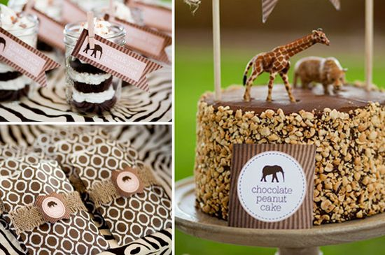 safari inspired party..love the cake with nuts