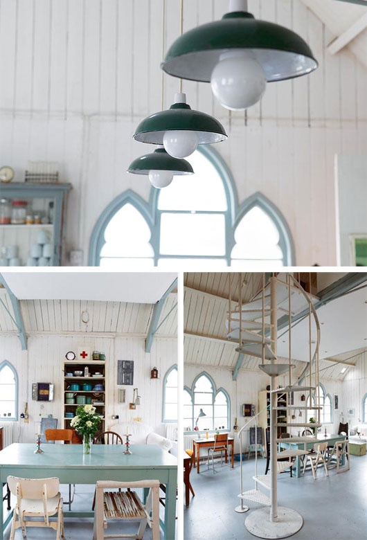 church turned house. love all the white with the blues and greens. just perfect.