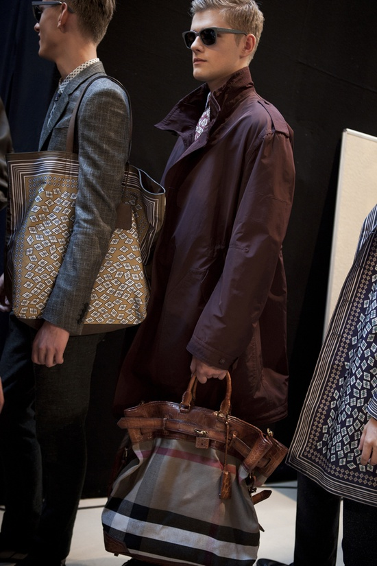 Backstage at the Burberry Prorsum Menswear S/S13 show