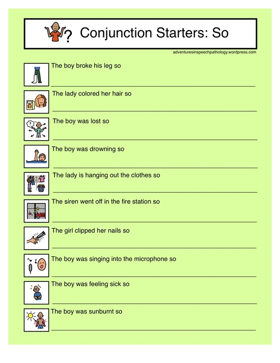 "Free Downloads for  subordinating conjunction 'so' from ""Adventures in Speech Pathology"" Also Link to the Common Core Standards! Pinned by SOS Inc. Resources http://pinterest.com/sostherapy."