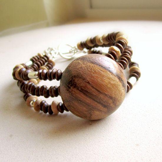 Brown Bracelet Wood Jewelry Vintage Button by jewelrybycarmal, $28.00