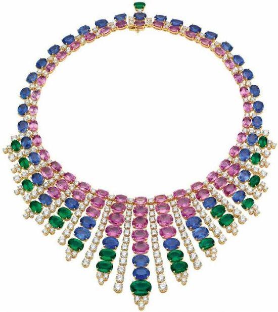 Emerald, sapphire, and diamond necklace by Bulgari.