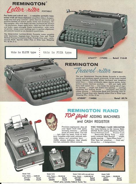 1950s Remington Typewriter ad.  #vintage #1950s #office #typewriter