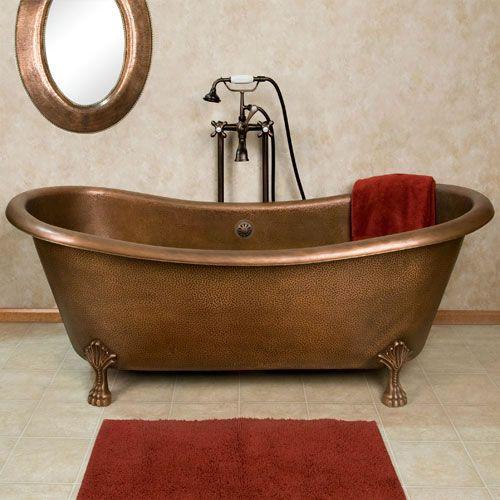 66 Josette Copper Double Slipper Bathtub on Claw Feet