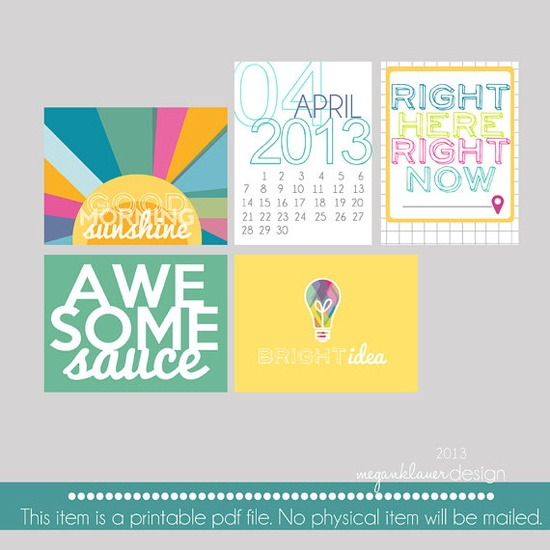 2013 Project Life Printable Journaling Cards by meganklauerdesign on Etsy