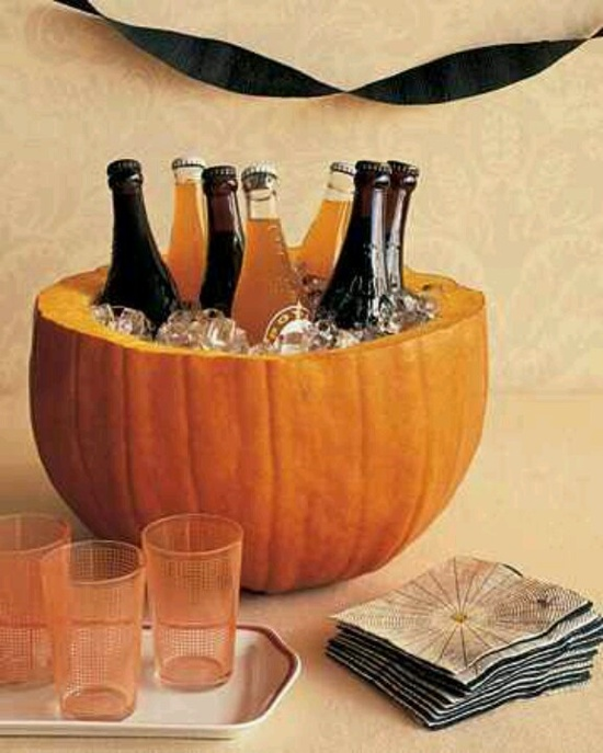 Pumpkin to hold drinks-cute fall party idea! Definitely need to get fruity bubbly drinks as well :) koalas!!!