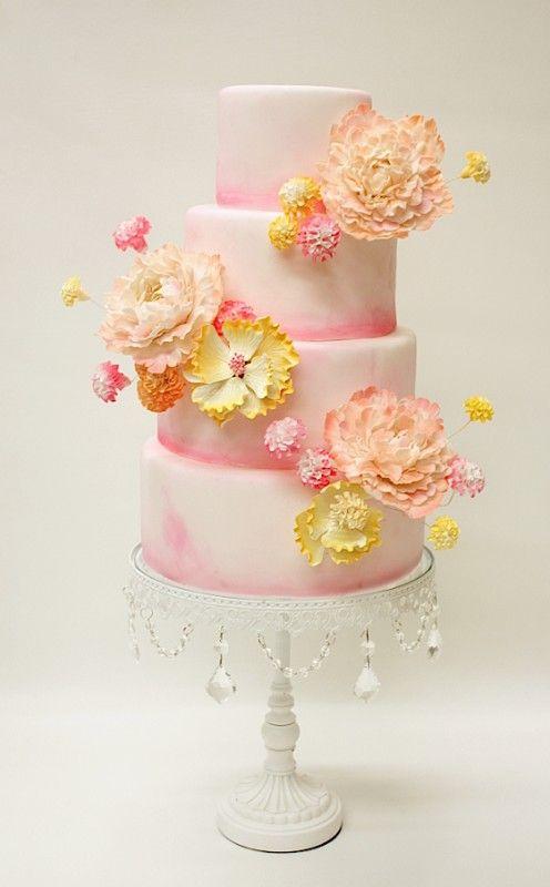 blush & yellow tiered tall cake; LULU Custom Cake Boutique, NY