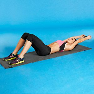 Work your abs, back and chest using a dumbbell in the Pullover Curl-Up #exercise