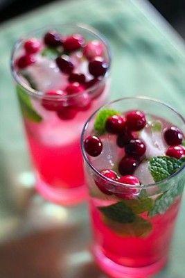 Holiday Cranberry Mojitos