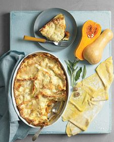 Butternut Squash Lasagna- Layers of sage-flecked squash and rich, creamy ricotta serve as both filling and sauce.
