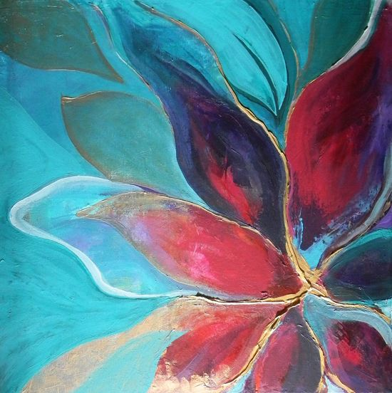 Unique Abstract Painting On Stretched Canvas- Abstract Flower.