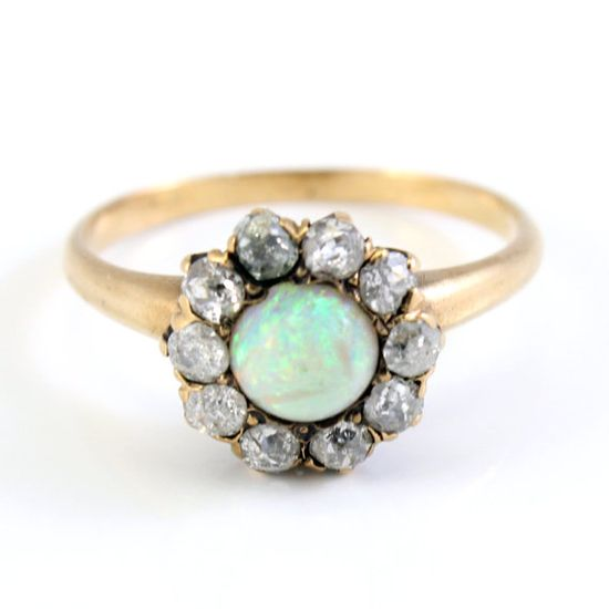 Victorian jelly opal ring with mine-cut diamonds