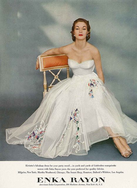 white evening dress from 1951. #vintage #fashion #1950s #dress