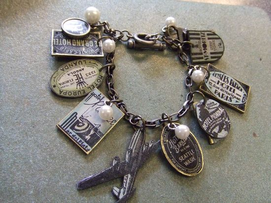 Most of the charms on this bracelet  were made using  rubberstamped images on shrink plastic. #tutorial #crafts #jewelry