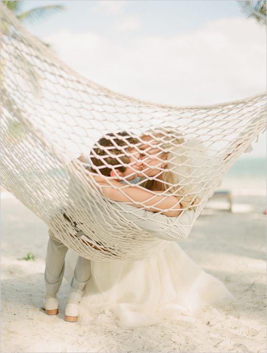 Sweet beach wedding moment!