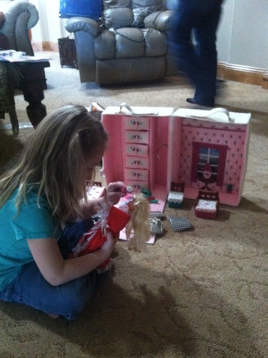 Handmade Barbie portable house, made by my grandmother