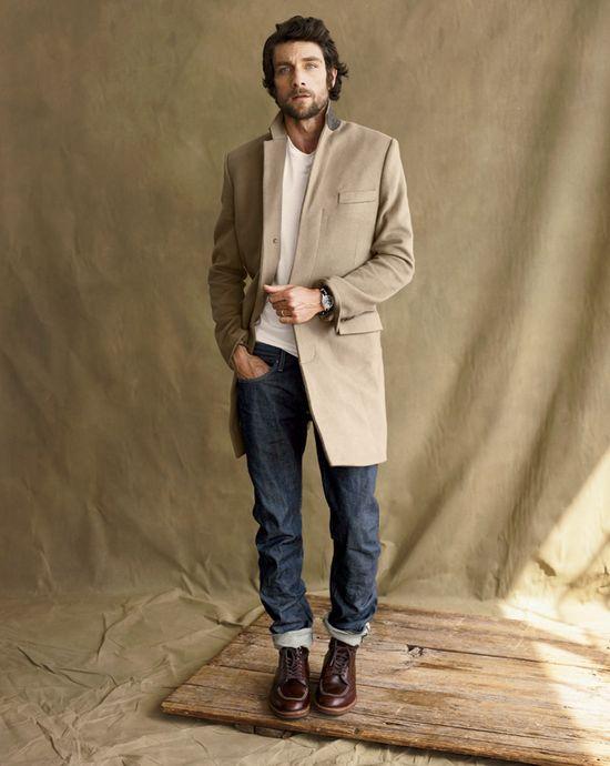 Men's fashion, Jeans, shirt, coat.