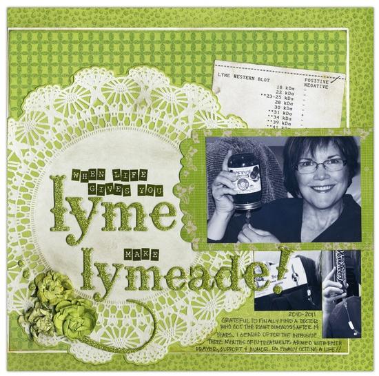 "Make ""Lymeade"" - Scrapbook.com - #scrapbooking #layouts #bazzillbasics #diecutswithaview #timholtz #tombow #kaisercraft #rangerink #glitzdesign #pinkpaislee #prima #zvacreative"