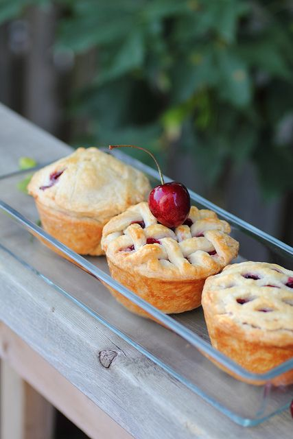 Mini Cherry Cupcake Pies by adventuresshear #Pie #Cherry