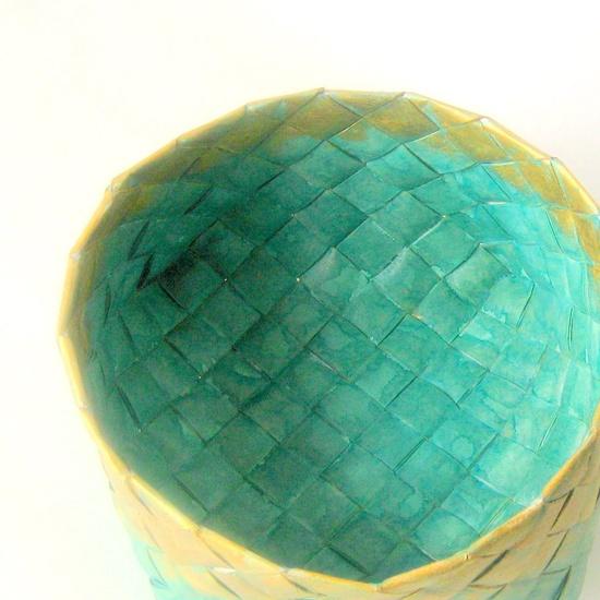 Basket plaited paper turquoise handmade L Danish, via Etsy.