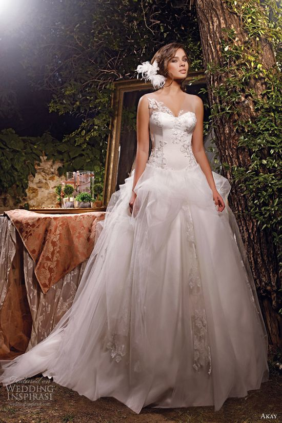 akay wedding dresses 2013 bridal sleeveless ball gown