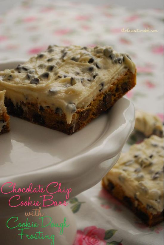 chocolate chip cookie dough bars with cookie dough frosting.