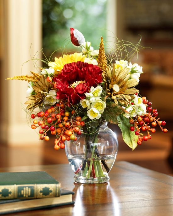 Poppy & Berry Silk Flower Arrangement