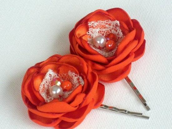 Orange on a bobby pin