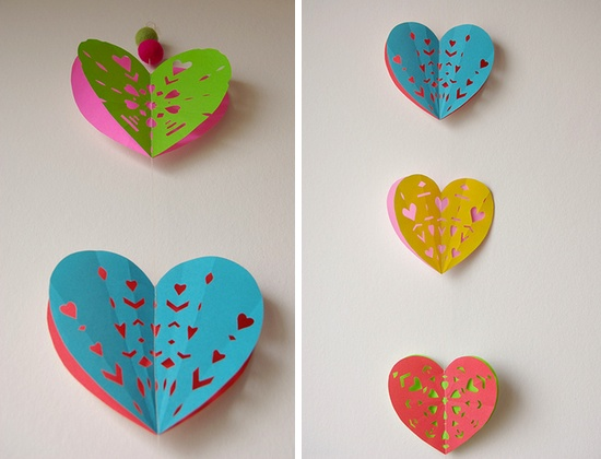 Valentine DIY: Heart Paper Garland  by papernstitch  Do this with circles?  @Kar