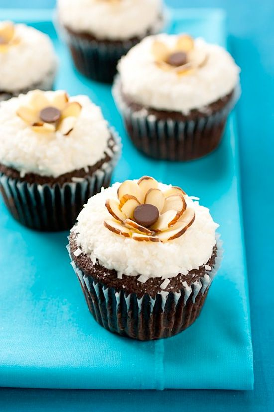 Chocolate Cupcakes with Coconut Frosting & Almonds #cupcake #recipe