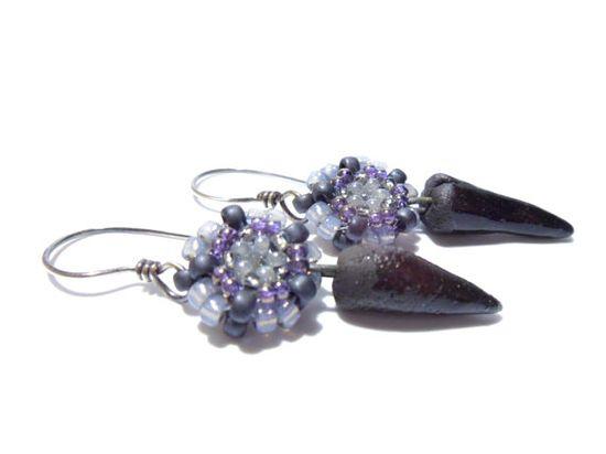 BEADED DAGGERS Handmade earrings by silverniknats on @Etsy