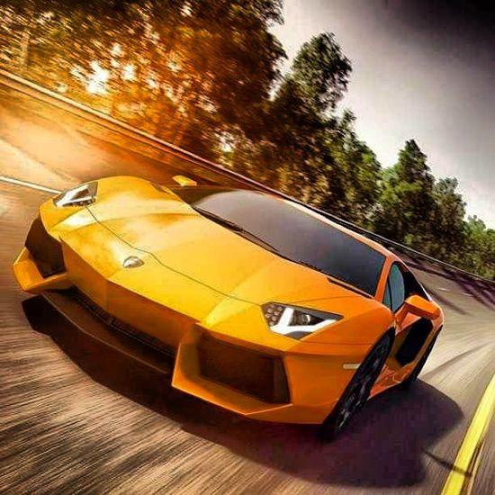 Golden Lamborghini Aventador cruising into the sunset