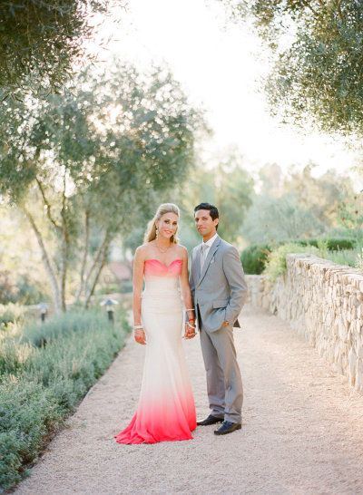 hot pink infused wedding dress