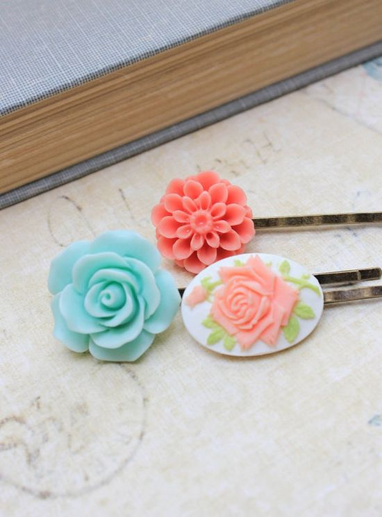 Flower Bobby Pins Rose Hair Accessories Mint by apocketofposies
