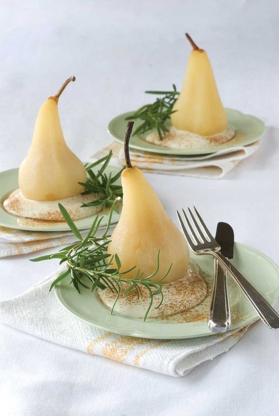 This healthful dessert is a great way to finish a meal. The fresh rosemary counters the sweet pears to balance