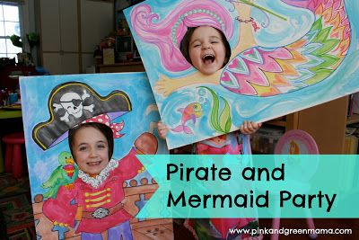 Birthday Party Highlights: Pirates and Mermaid Party Silly Face Posters