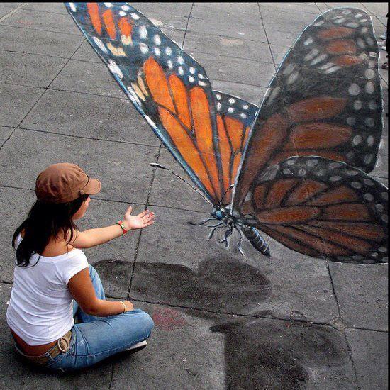 3D butterfly sidewalk art