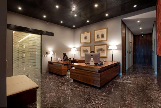 modern but cozy office, marble, wood, grey walls, interior design and decorating