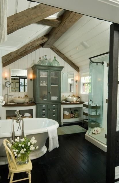 Bathroom! So pretty. Love all the furniture, beamed ceiling