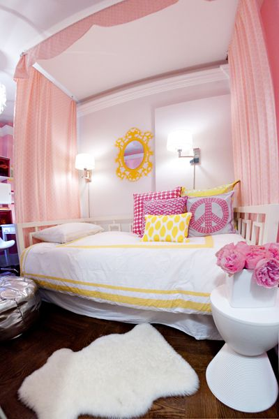 For Kate:  girl's rooms – pink drapes diy canopy white West Elm overlapping