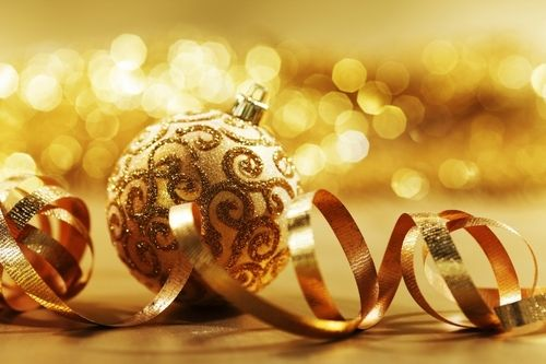 Golden Christmas decorations - christmas Photo