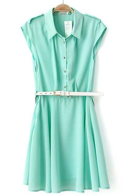 Green  Belt Dress